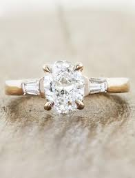 yellow gold oval engagement rings jia three baguette engagement ring ken design