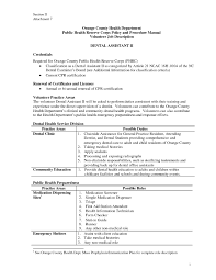 Resume Samples Dental Assistant by Dental Assistant Duties For Resume Resume For Your Job Application