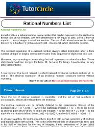 Rational Or Irrational Numbers Worksheet Rational Numbers List Rational Number Real Number