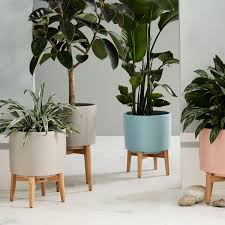Mid Century Turned Leg Standing Planters Matte To Buy