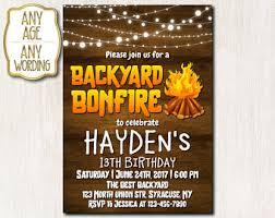 Backyard Birthday Party Invitations by Bonfire Invitation Etsy