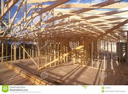 wood frame of house under construction stock photography image