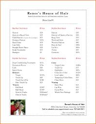 hairstyle price list salon price list template