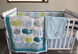 Baby Boy Cot Bedding Sets Active Printing Cotton Baby Boy Crib Bedding Set Blue Whale Cot