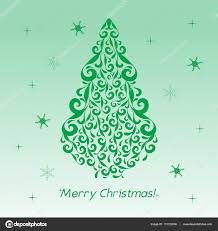 christmas card with green figures of curls decoration template