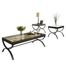 Metal And Glass Coffee Table Steve Silver Emerson Rectangle Glass Top 3 Piece Coffee Table Set