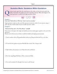 Quotation Marks Worksheet Quotation Marks Quotations Within Quotations Grammar Worksheets