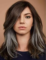 cool light brown hair color brown hair with bright silver underlights redken