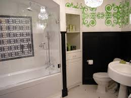 built in bathroom storage black and white bathroom with green wall