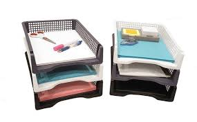 Stackable Desk Organizer Set Of 6 Sturdy Plastic Front Loading Document Letter Organizer