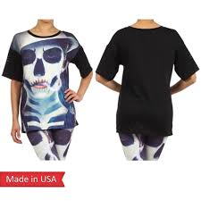 Womens Halloween T Shirts by Lady Joker Goth Emo Punk Skull Face Spooky Print Halloween Top T