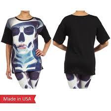 womens halloween shirt lady joker goth emo punk skull face spooky print halloween top t