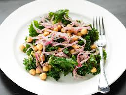 marinated kale and chickpea salad with sumac onions recipe