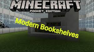 minecraft pe modern bookshelves furniture ideas youtube