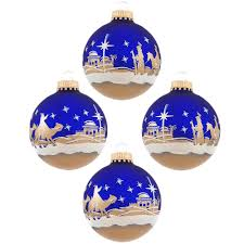 set of 4 bethlehem glass ornaments ornaments nativity