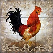 Kitchen Tile Murals Tile Art Backsplashes by Rooster Ii By Malenda Trick Kitchen Backsplash Bathroom Wall