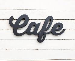 cafe wooden sign wood words home kitchen restaurant bar coffee
