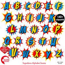 superhero clipart letters clipart letters bursts alphabet