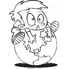 vector of a cartoon globe outlined coloring page drawing by