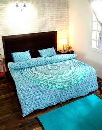 turquoise ombre mandala duvet cover with pillow covers bohemian