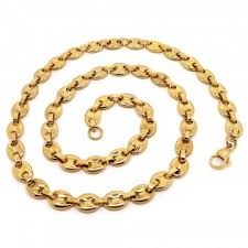 necklace gold man images Chain necklace coffee bean man stainless steel golden gold 8x11mm jpg