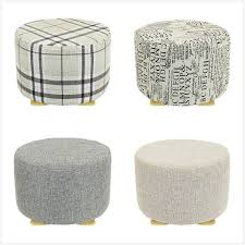 ottoman with 4 stools footstool j m home ottoman decor fabric foot stool round 4 legs