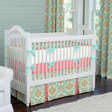 coral and aqua medallion crib bedding baby bedding