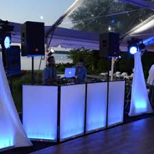 rent a photo booth lighting package 3 ny rent led dj booth facade frontboard rental