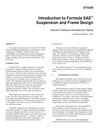 automotive sae fsae suspension and frame design suspension