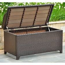 Storage Chest Bench Barcelona Outdoor Storage Trunk Bench Chocolate Wicker Dcg