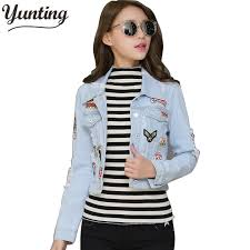 light blue cropped jean jacket women cropped jean jacket light blue bomber short denim jakcets