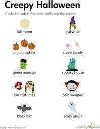 halloween adjectives and nouns worksheet education com