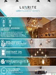 luxrite led edison bulb 4w 30w equivalent 2700k warm white