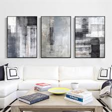 haochu abstract canvas painting dark colors stripe print nordic