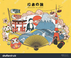 Japan Design by Japan Tourism Poster Design Attractions Japan Stock Vector