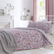 sunny watercolour floral printed blush pink duvet cover set dove