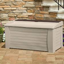 suncast deck box with seat and storage compartment 127 gal