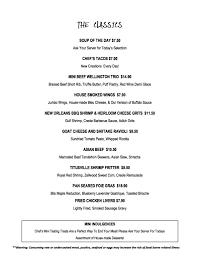 tasting room menu chef u0027s table at the edgewater
