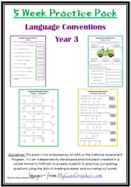 naplan 5 week language conventions practice pack grade 3 teach