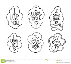 i love you hand drawn lettering inscription set stock vector