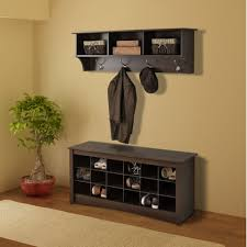 prepac shoe storage cubbie bench u0026 entryway shelf in espresso