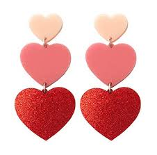 heart ear rings images Triple heart earrings yippywhippy jpg