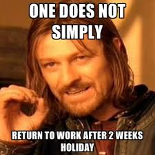 Holiday Meme - one does not simply return to work after 2 weeks holiday create meme