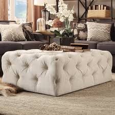 round tufted coffee table marseille french country cream ivory linen round tufted coffee