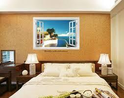 Poster Wallpaper For Bedrooms Huge 3d Caribbean Sea View Window Film Wall Stickers Art Mural