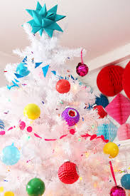 colorful decor white tree with land of