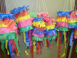 paper bag pinatas made with brown paper lunch bags and colored