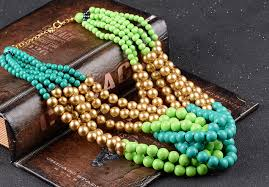 beads necklace wholesale images Wholesale green blue beaded chunky statement necklace yiwuproducts jpg