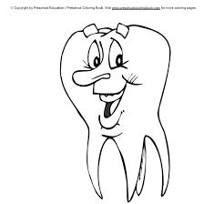 smiling tooth coloring fun dental activity sheets