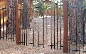 6ft ornamental iron with 6x6 redwood post